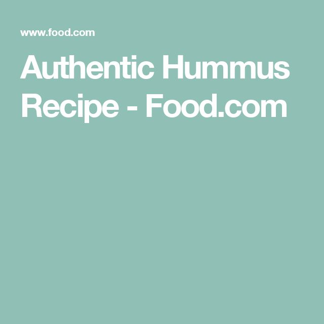Authentic Hummus Recipe - Food.com