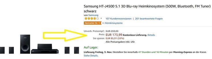 Samsung HT-J4500 5.1 3D Blu-ray Heimkinosystem Test  #Angebot #Samsung #Samsung Heimkino #Samsung HT-J4500 #Test #Testbericht