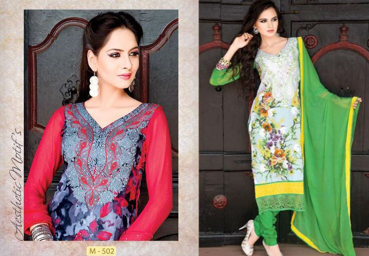 Feel like #princess in these beautifully embroidered #suits. Front and back Digital Print. Dupatta with 4 side border #looks #fabulous.