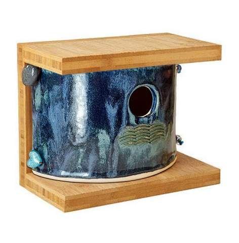 Bamboo Stoneware Mod Birdhouse Birdhouses Bird Houses Decorative Bird Houses Glazes For Pottery