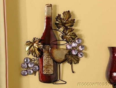 New METAL GRAPES WINE BOTTLE PLAQUE Tuscan Kitchen Dining Room Picture ART