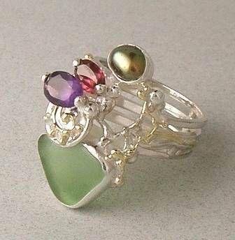 Konstsmycken, Hänge, Ringar, örhängen, Armband, Halsbad, Ametist, Granat