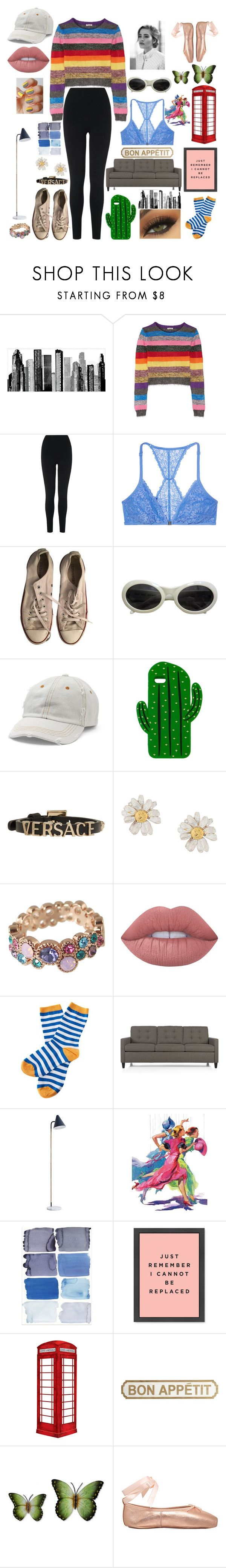 """Lights Out, Fun In"" by meisnatalia ❤ liked on Polyvore featuring RoomMates Decor, Miu Miu, L.K.Bennett, Victoria's Secret, Converse, Gucci, Mudd, Sarina, Versace and Alex Monroe"