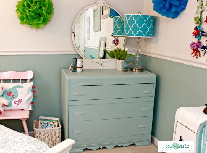 Aqua Painted Dresser With Ribbon Pulls and White Mirror  www.mom4real.com