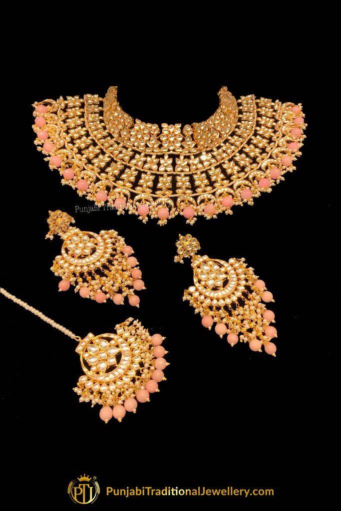 8e9c518df Gold Finished Peach Kundan Necklace Set By Punjabi Traditional Jewellery
