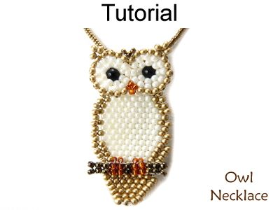 Beaded Owl Necklace Brick Stitch Beading Pattern Tutorial | Simple Bead Patterns