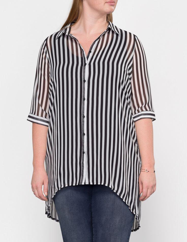 Velvet Pop Striped semi-sheer chiffon shirt  in Black / White