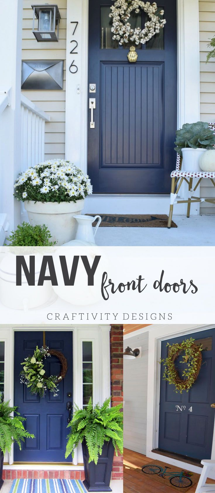 Navy Front Door Ideas, Exterior Colors, Patio Ideas, Porch Ideas, Exterior Design
