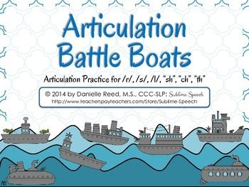 """Articualtion Battle Boats for /r/, /s/, /l/, """"sh"""", """"ch"""", & """"th"""" from @Melanie McMahon Speech"""