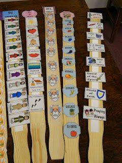 love this idea!....Use paint sticks and velcro to make an activity of putting things in order