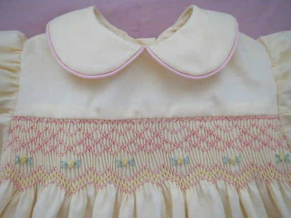 Pretty Pastel Yellow and Pink Hand Smocked Dress for Baby Girl. Spring Dress. Made to Order