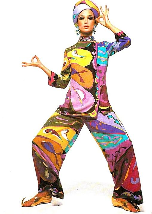 www.cewax.fr aime la mode ethnique ! Oh if I could pull this off!  Love the colors!  Emilio Pucci, 1960s