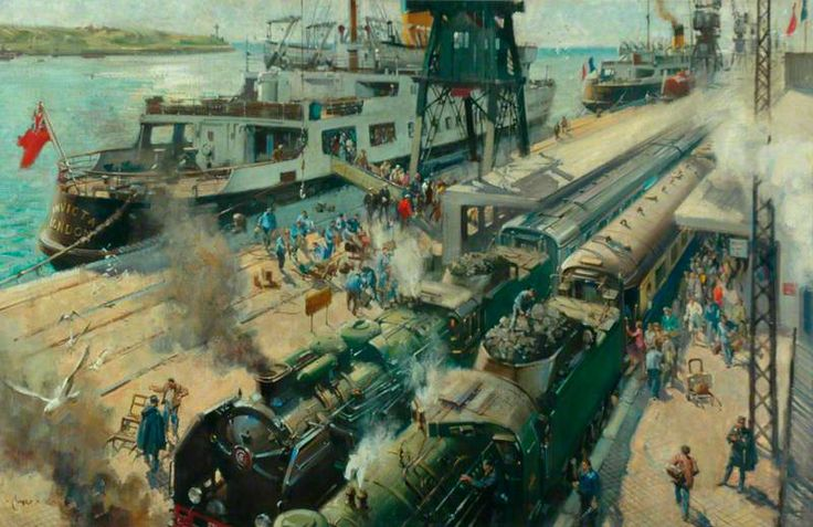 Bon Voyage: Trains Joining Steam Ships at Calais (British Railways poster artwork) by Terence Tenison Cuneo