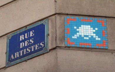 La rue des Artistes et le Space Invader juste derrière le coin... (Paris 14ème)