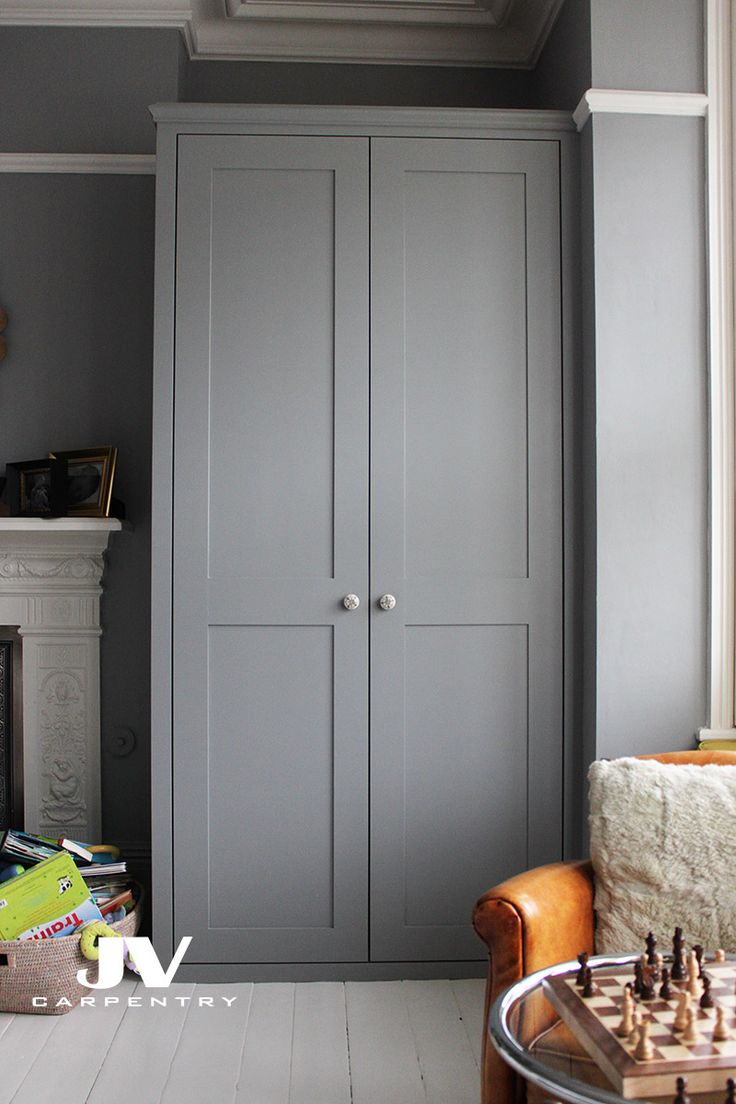 Fitted wardrobe with shaker doors, This alcove wardrobe made in line with existing picture rail and we managed to find the same picture rail to match the existing and install it on the top of the wardrobe.
