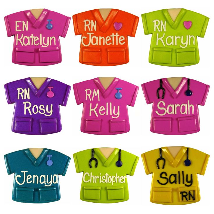 Nurse Name Badges - Scrubs A choose from 24 background colours, add a stethscope, RN, EN, ICU, DR, EEN, AIN, SN, watch, pink or red heart, red cross
