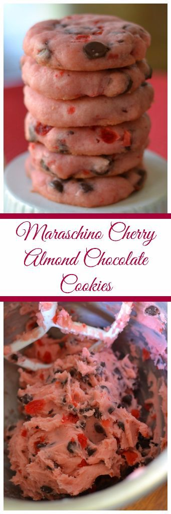 Maraschino Cherry Almond Chocolate Cookies are easy shortbread cookies full of cherries and semi-sweet chocolate chips. There is a touch of almond flavoring to complement the cookie.