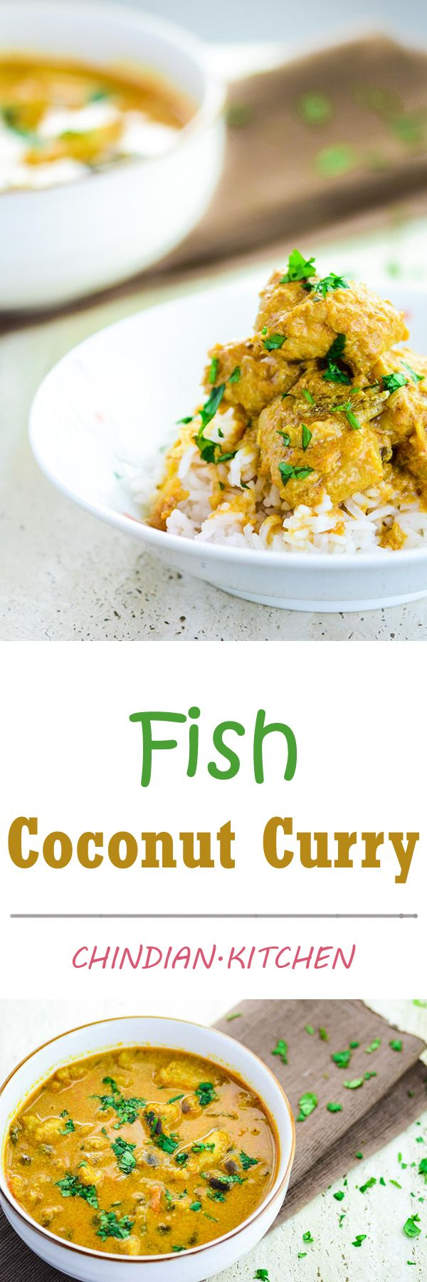 Creamy Fish Coconut Curry from scratch. Bursting with flavour of coriander, turmeric, chilli and garam masala.