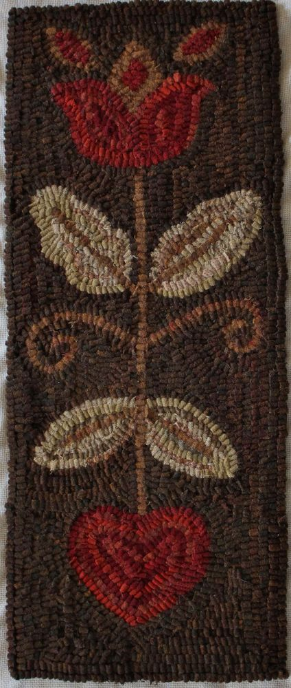 HAND MADE PRIMITIVE HOOKED RUG ~ HEART & TULIP ~ FOLK ART ~ EARLY STYLE #Primitive