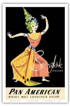 Pan American Airlines (PAA) - Bangkok Thailand - Thai Woman Classical Dancer - Vintage Airline Travel Poster von A. Amspoker c.1950s - Master Art Print