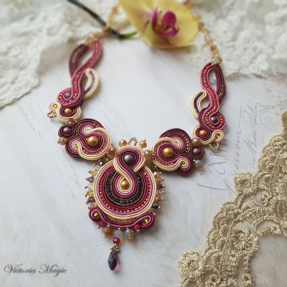 Unique jewelry set: necklace, earrings, brooch - Shibori ribbon bead embroidered necklace - Soutache embroidery and Shibori ribbon necklace. When I first saw the jewelry in the technique of soutache embroidery, I thought - it is the real magic. I wanted to create jewelry that would be different from works of other designers and would be something special. And I created a collection of magical jewelry that can be changed or transformed.  Why my jewelry is magical? The first magic - all…