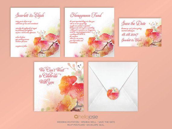 Watercolour Flowers Printable DIY Wedding Invitation by HelloJosie
