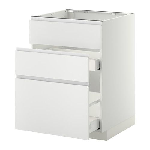 metod maximera base cab f sink 3 fronts 2 drawers white nodsta white aluminium 60x60 cm. Black Bedroom Furniture Sets. Home Design Ideas
