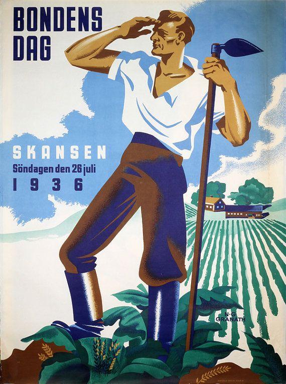 Original vintage poster  The Farmers Day Bondens Dag by PosterTeam