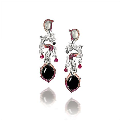 BLACK JADEITE AND MULTI-COLOURED SAPPHIRE EARRINGS, BY ALESSIO BOSCHI
