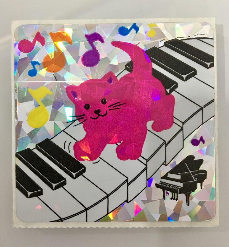 Vintage Rare Sandylion prismatique danse chat & Piano autocollant par GreenLightLovelys sur Etsy https://www.etsy.com/ca-fr/listing/268775558/vintage-rare-sandylion-prismatique-danse