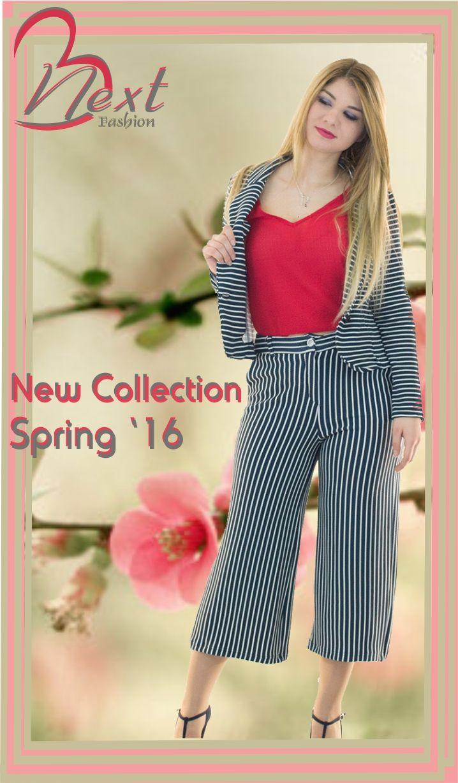 women's fashion - next fashion - spring 2016 - γυναικεία ρούχα - φτηνά - μοντέρνα - νεανικά - άνοιξη 16 - ζιπ κιλότ σακάκι ριγέ - κόκκινη σιφόν μπλούζα