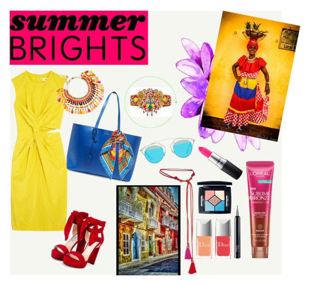 """Summer brights"" by andrea-tatis on Polyvore featuring moda, Jil Sander, Jimmy Choo, Yves Saint Laurent, Dolce&Gabbana, Lanvin, Christian Dior, Rosantica, MAC Cosmetics y Colombia"
