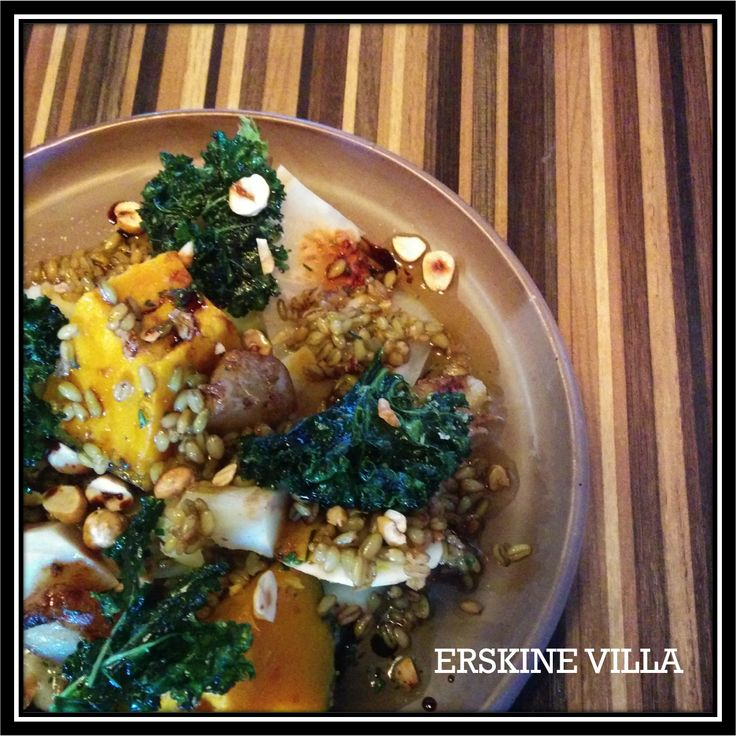Vegetarian Dish: Salt baked Autumn Vegetables with Kale., Farro, Hazelnut and PX Reduction
