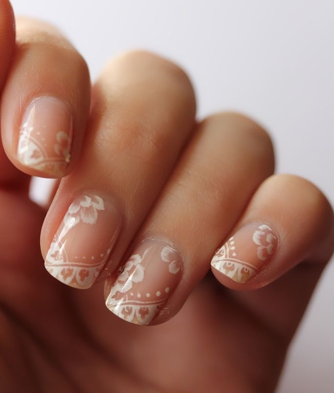 Choosing a mani for your big day you can go neutral or classic, of course: a French manicure or a pastel one, that's a stylish and elegant variant. Even a calm and neutral manicure can be unique if you add beautiful floral patterns...
