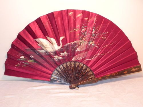 Vintage Victorian Hand Painted Face Fan. Something special from Lavender Antiques