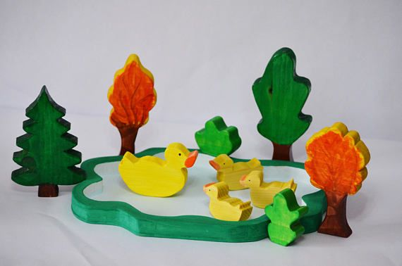 Waldorf Wooden Toy Play Set Wooden Duck Family Wooden