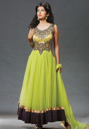 Gestickte Abaya Style-Net Anzug in Grün