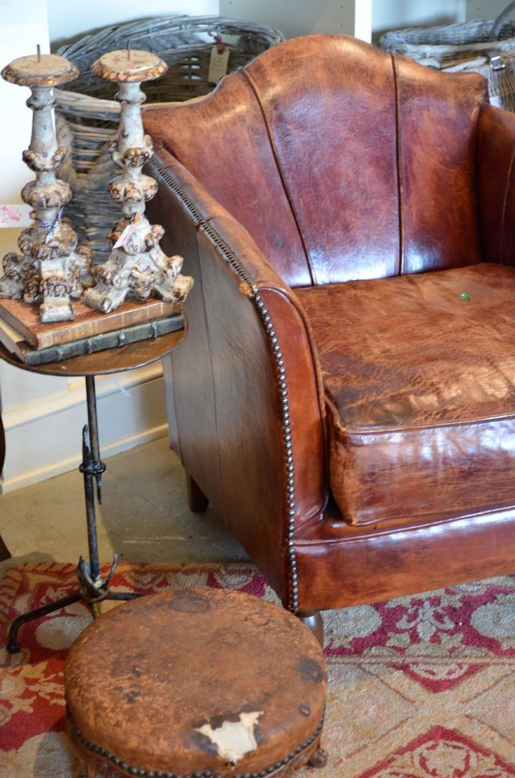 Leather~ Vintage/distressed leather club chair