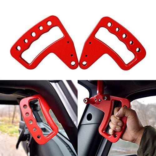 Front Red Aluminum Grab Handle for Jeep Wrangler JK JKUFit : Jeep Wrangler JK 2007 2008 2009 2010 2011 2012 2013 2014 2015 2016 2017 Includes Rubicon, Sahar