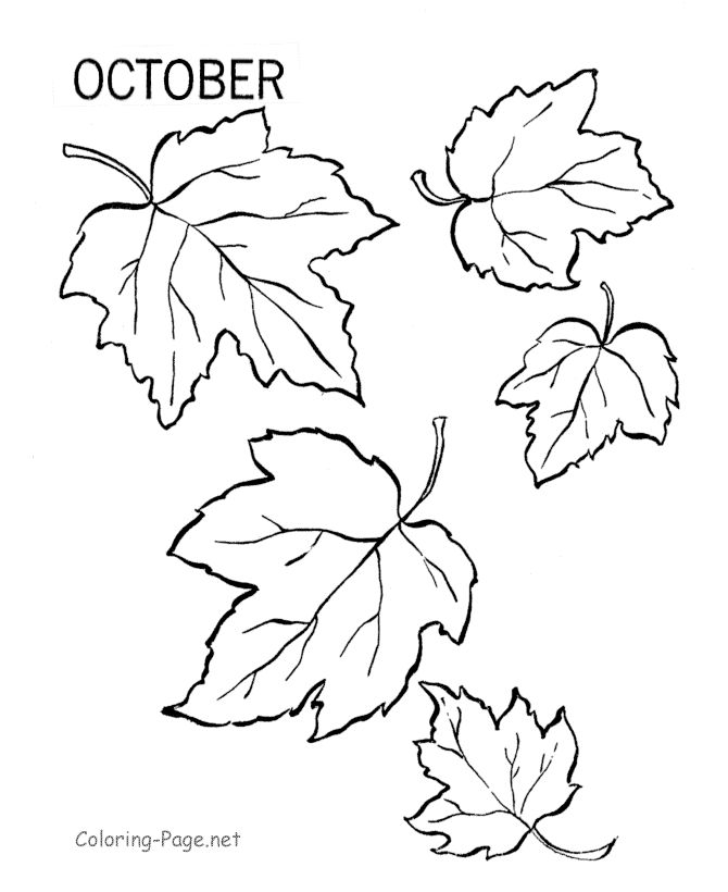 fall coloring page october leaves - Printable Coloring Pages For Kids Fall