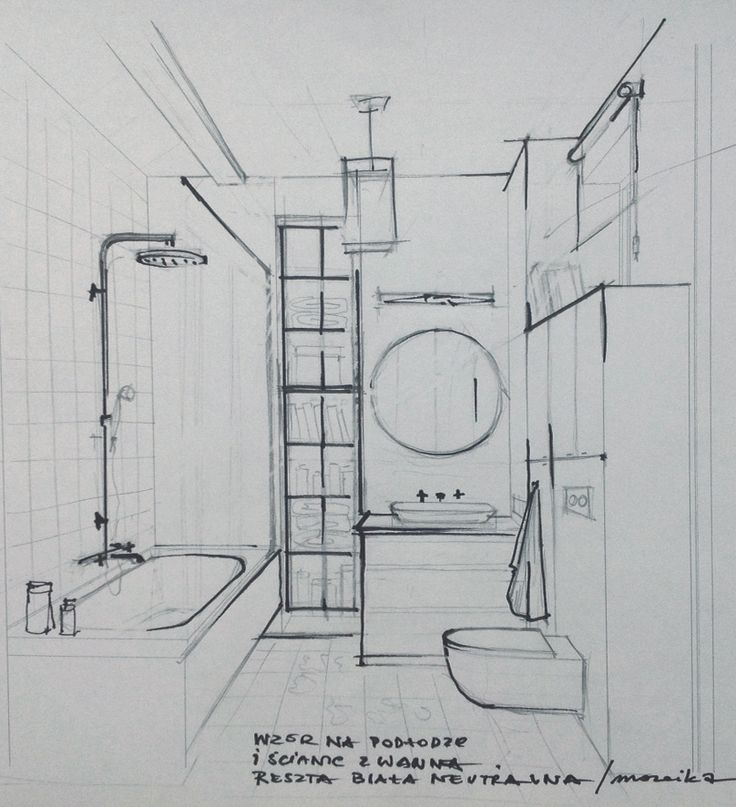 Sketch of the bathroom interior sketches and drawings for Bathroom designs drawing