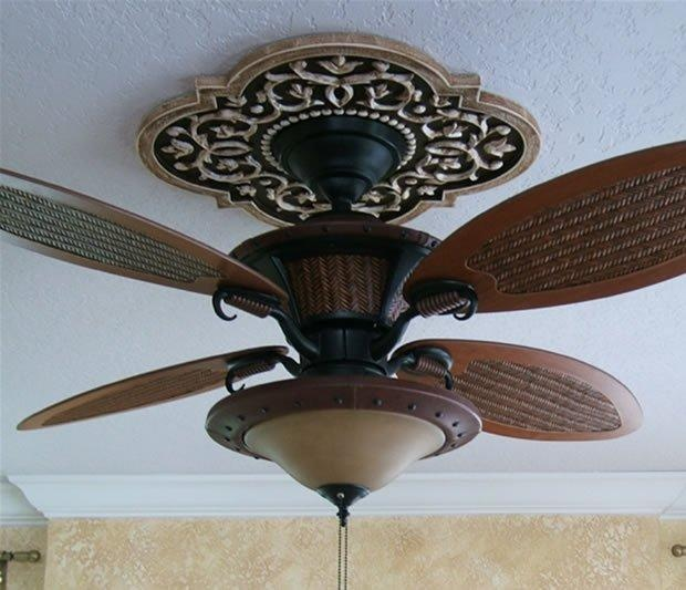 "Ceiling Medallion by Marie Ricci. 22"" Mediterranean Vine shown in distressed brown. Ceiling Fan from Lowes. www.marericci.com"