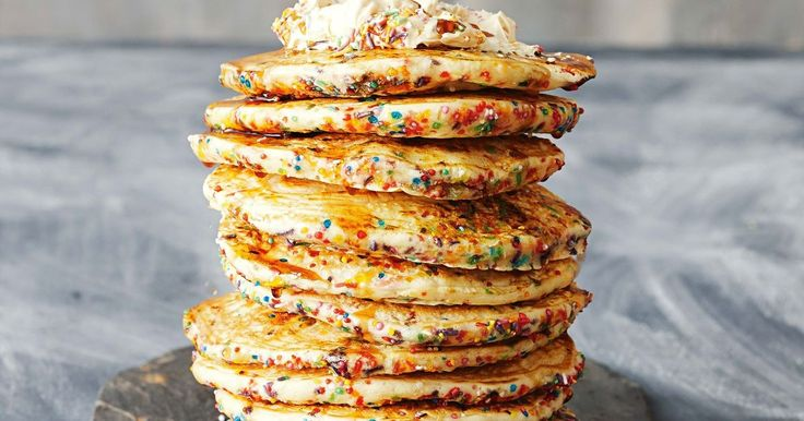 Start off a celebratory day with these sprinkle-tastic pancakes. Make them for a special birthday or ramp up the fun on Pancake Day!