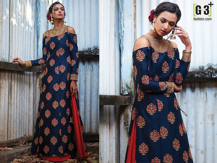 Navy Silk Designer Suit