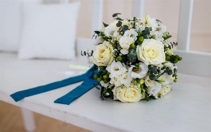 Scarica sfondi bouquet di nozze, rose, bouquet da sposa, rose bianche
