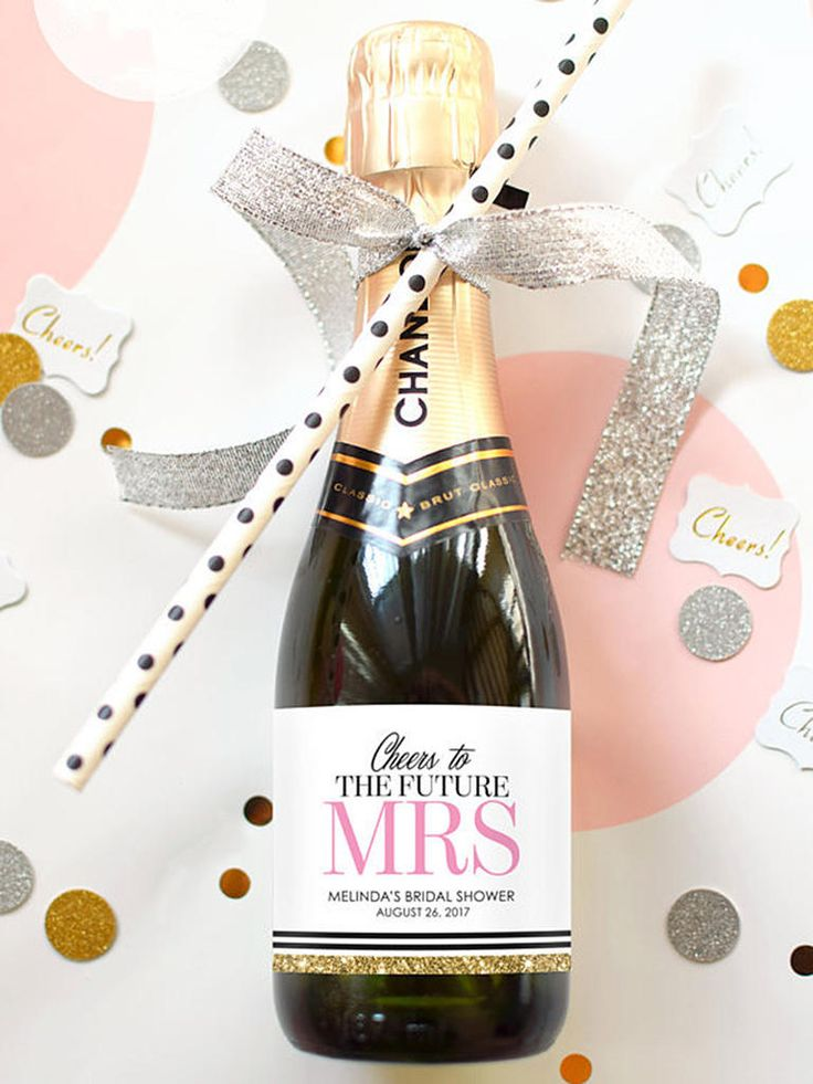 Pick up some champagne splits from your local party store and decorate them with a custom label as a personalized bridal shower favor.