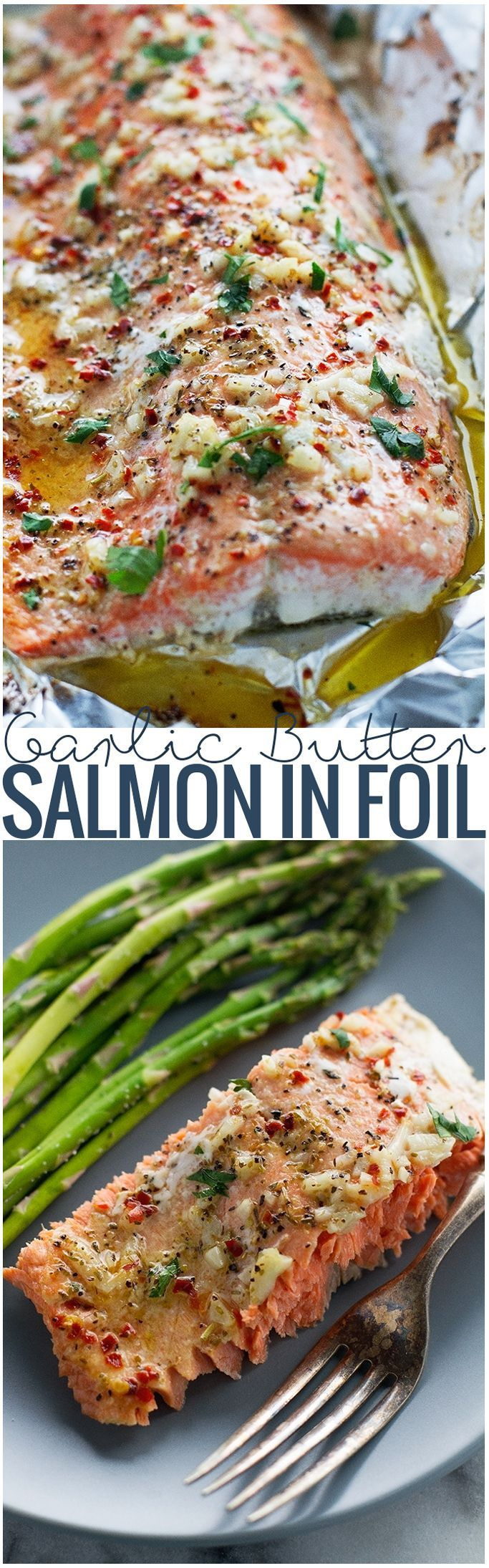 Baked salmon in foil that's been brushed with my lemon garlic butter sauce. This recipe is so easy to make and pulls together in less than 30 minutes! The salmon is so flakey and tender when baked inside foil