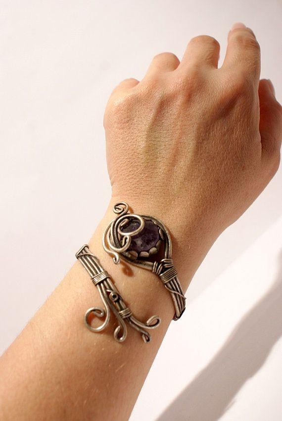 Amethyst BraceletAmethyst cuff bracelet wire by BeyhanAkman, $40.00
