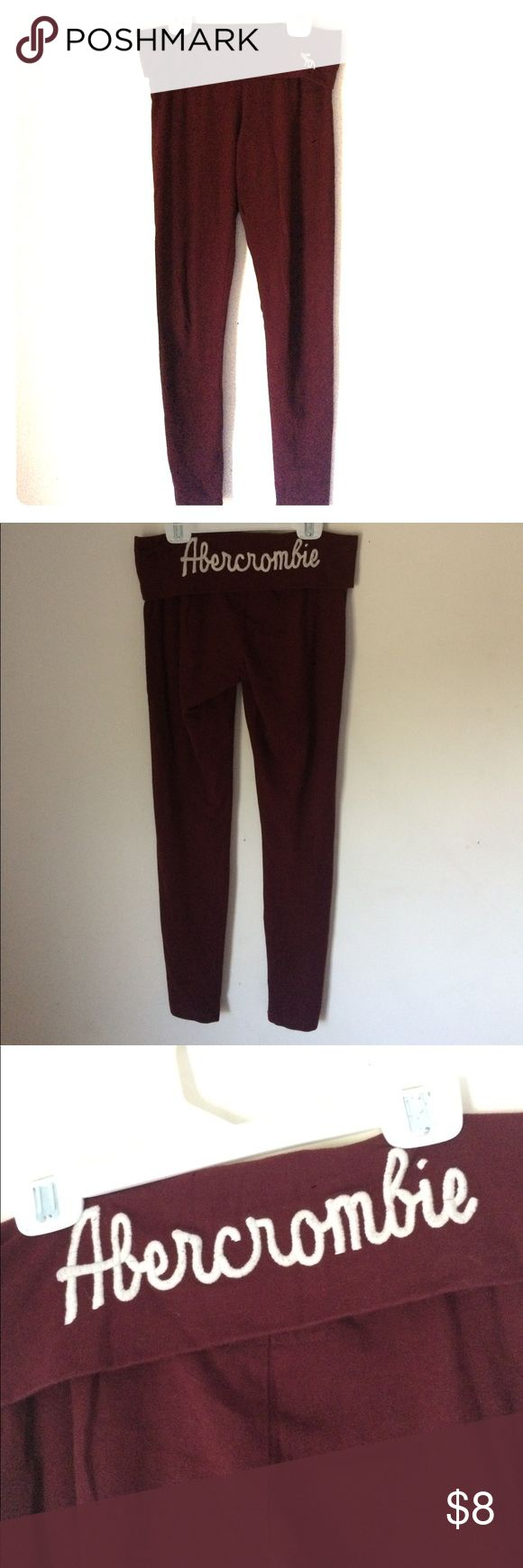 Abercrombie and Fitch skinny fitted leggings Nwot Small Maroon Abercrombie and Fitch leggings. They fold over at the top and are super soft! Abercrombie & Fitch Pants Leggings