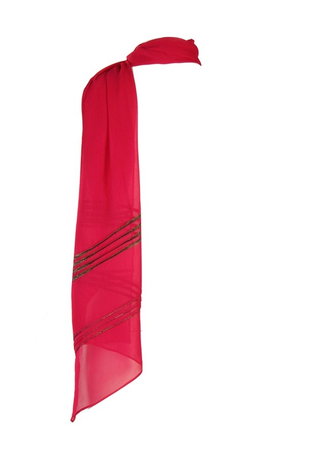 Bright Rose Pink Solid Dupatta In Poly Georgette With Pleats & Tapes At Both Ends With Hangings & Pin Fold Finish Around The Edges; Non Crinkled And 2.25M In Length #Wishful #Fashion #Style #Colors #Drapes #W for #Woman